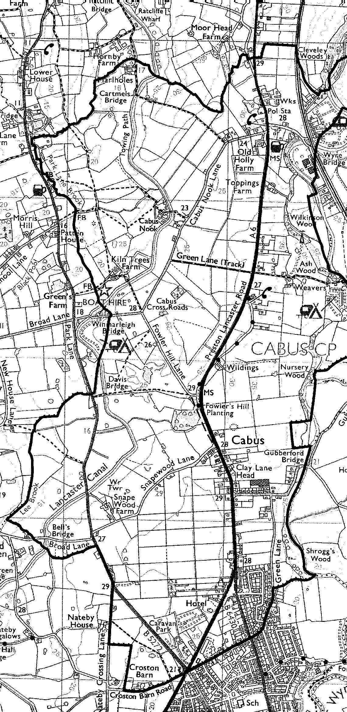 Black and white map of Cabus